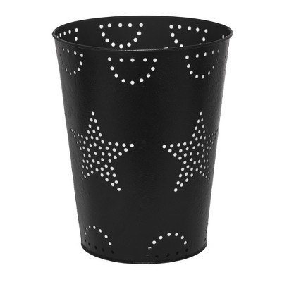 Lakeside Farmhouse Bathroom Trash Can with Decorative, Punched Metal Stars