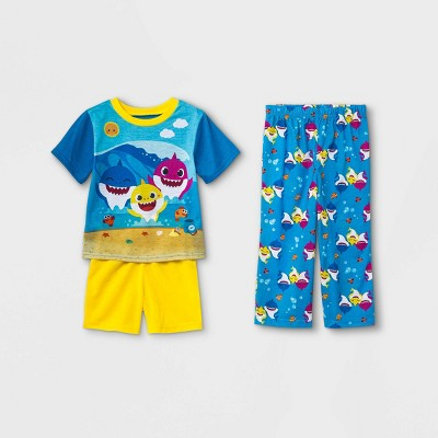 Toddler Boys' 3pc Baby Shark Pajama Set - Blue