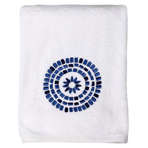 Waterfall Bath Towel Bluewhite 24x48 Saturday Knight Ltd