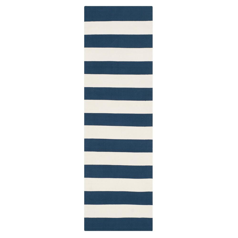 Navy/Ivory (Blue/Ivory) Stripe Flatweave Woven Runner 2'3X10' - Safavieh