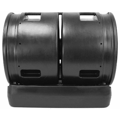 Good Ideas Large Plastic 7 Cubic Foot Capacity Compost Collecting Wizard Outdoor Garden Dual Tumbler Compost Container Tank, Black