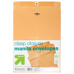 "Manila Envelopes with Clasp Closure 9"" x 12"" 20ct - Up&Up™"