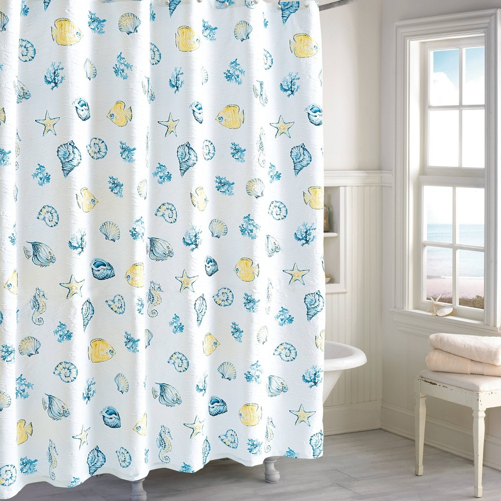 Image of Barbados Shower Curtain Blue/Yellow - Destinations