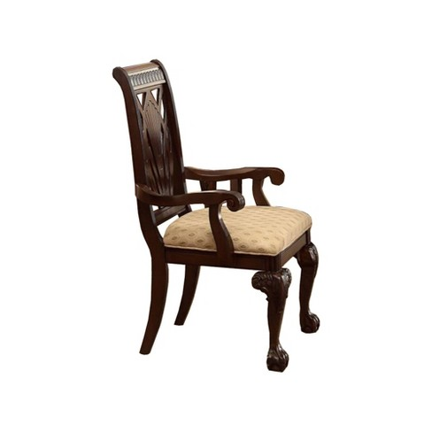 Set of 2 Traditional Style Wooden Fabric Dinning Arm Chair - Benzara - image 1 of 4