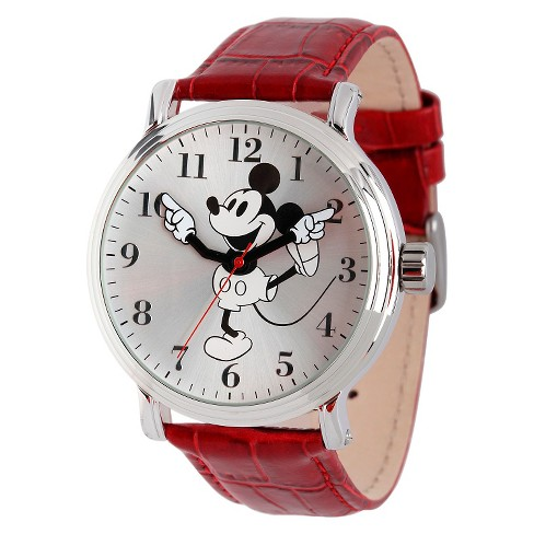 Men's Disney® Mickey Mouse Shinny Silver Vintage Articulating Watch with Alloy Case - Red - image 1 of 2
