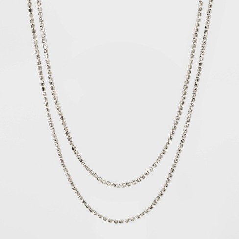 Endless Glass Necklace - A New Day™ Crystal Rhodium - image 1 of 2