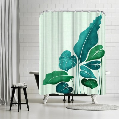 """Americanflat Cacophony In Teal by Modern Tropical 71"""" x 74"""" Shower Curtain"""