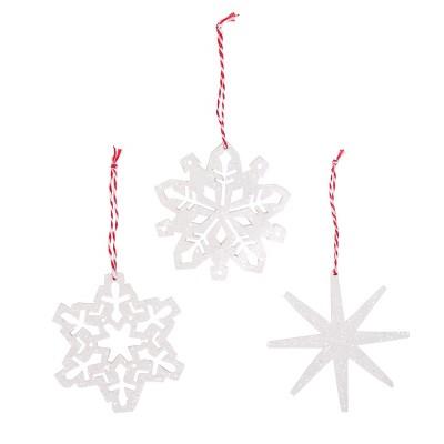 12ct Merry Lane Wood Snowflake Christmas Ornament Set White - Wondershop™