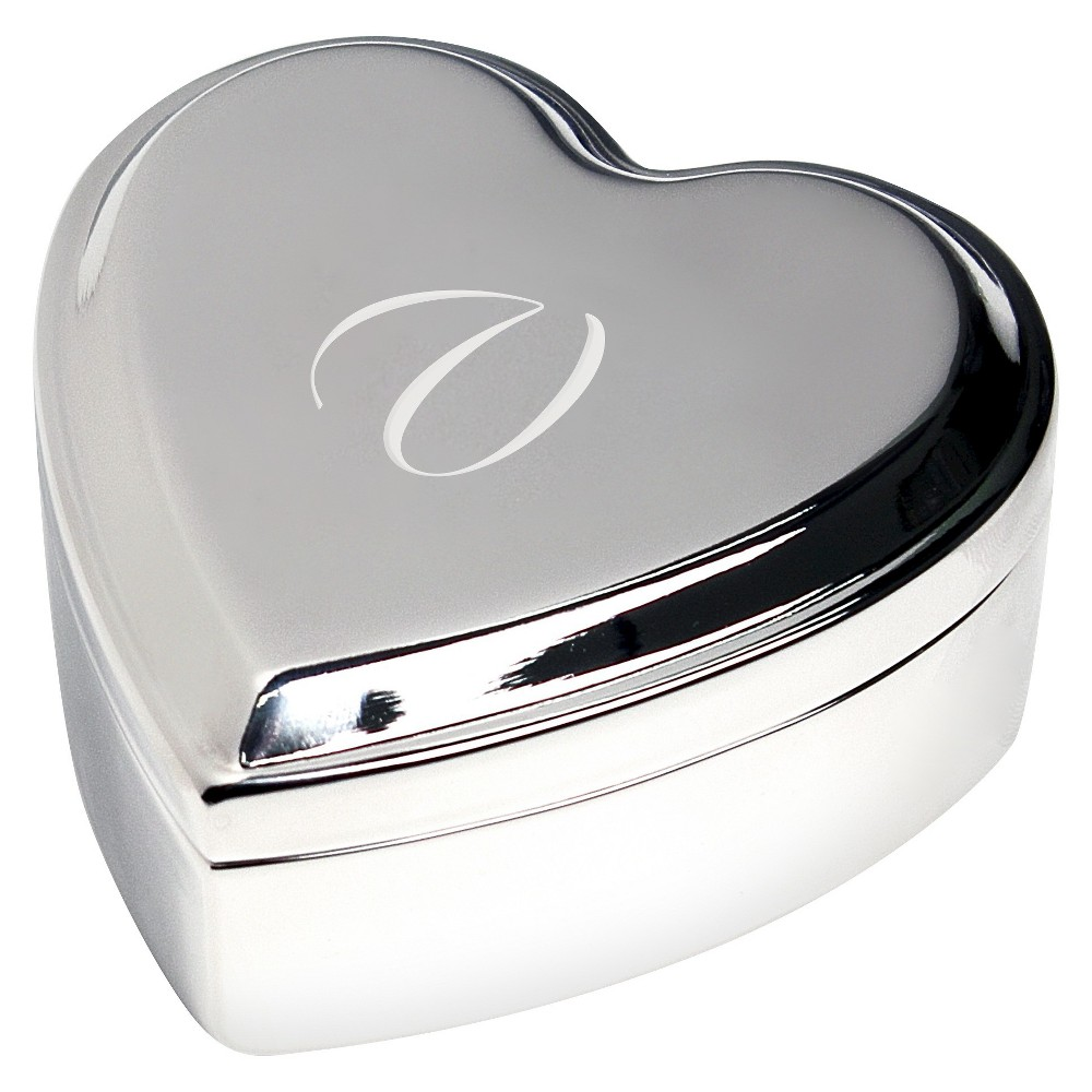 Monogram Heart Keepsake Jewelry Box - V, Silver