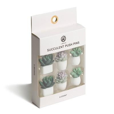 6ct Succulent Push Pins - U-Brands