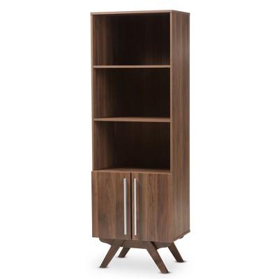 "70.83"" Ashfield Mid Century Modern Walnut Finished Wood Bookcase Brown - Baxton Studio"