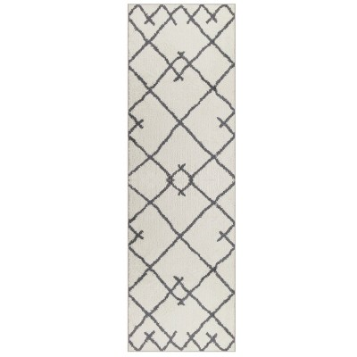 2'X7' Kenya Fleece Geometric Design Tufted Accent Rug Cream - Project 62™