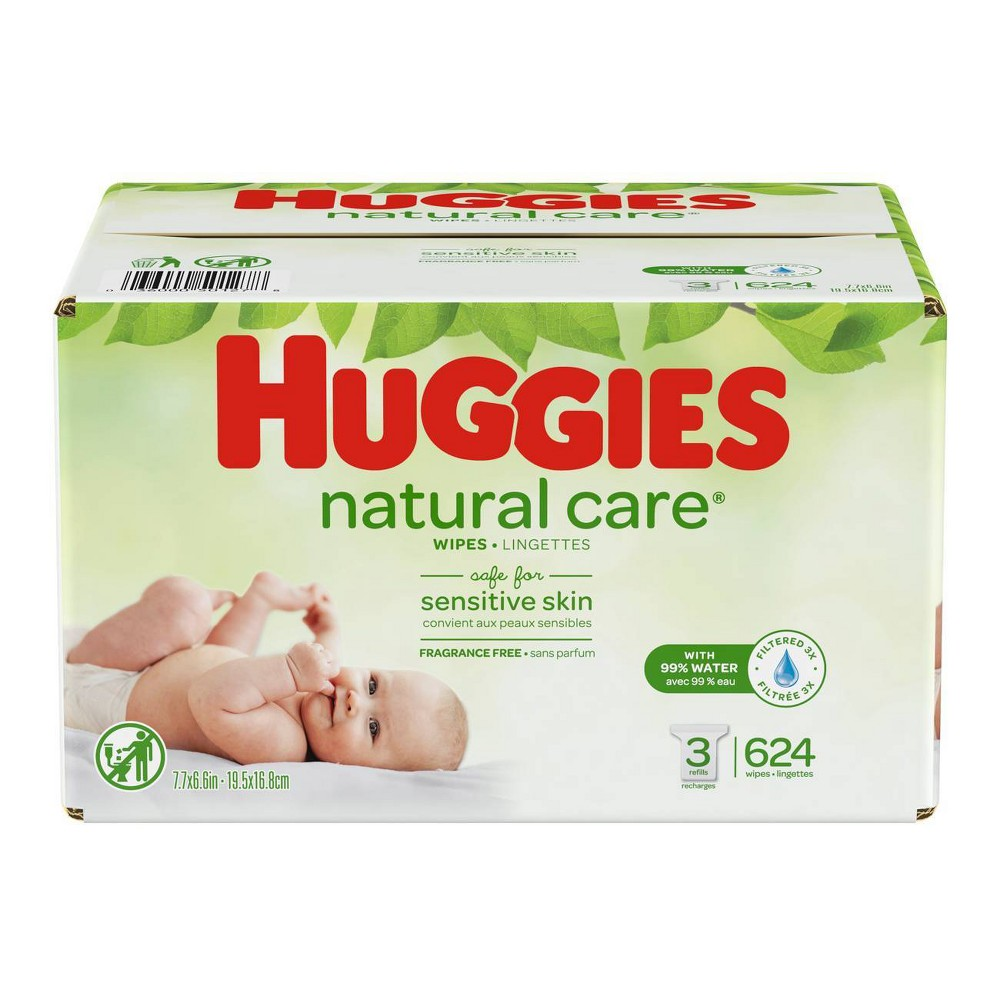 Huggies Wipes Natural Care Baby Wipes - 624ct Care for your baby's delicate skin from the very start with Huggies Natural Care Baby Wipes. Safe for sensitive skin, Natural Care Wipes contain 99 percent triple-filtered water for a pure, gentle clean. Plus, they are pH-balanced to help maintain your newborn's natural skin barrier and enriched with aloe and vitamin E to help keep skin healthy and conditioned. The #1 branded wipe*, Huggies Wipes are dermatologically tested and hypo-allergenic. In addition, Natural Care sensitive wipes are fragrance-free, alcohol-free and paraben-free, and they contain no phenoxyethanol or Mit. Size: 624ct.