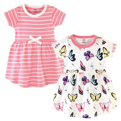 Touched by Nature Baby and Toddler Girl Organic Cotton Short-Sleeve Dresses 2pk, Butterflies and Dragonflies