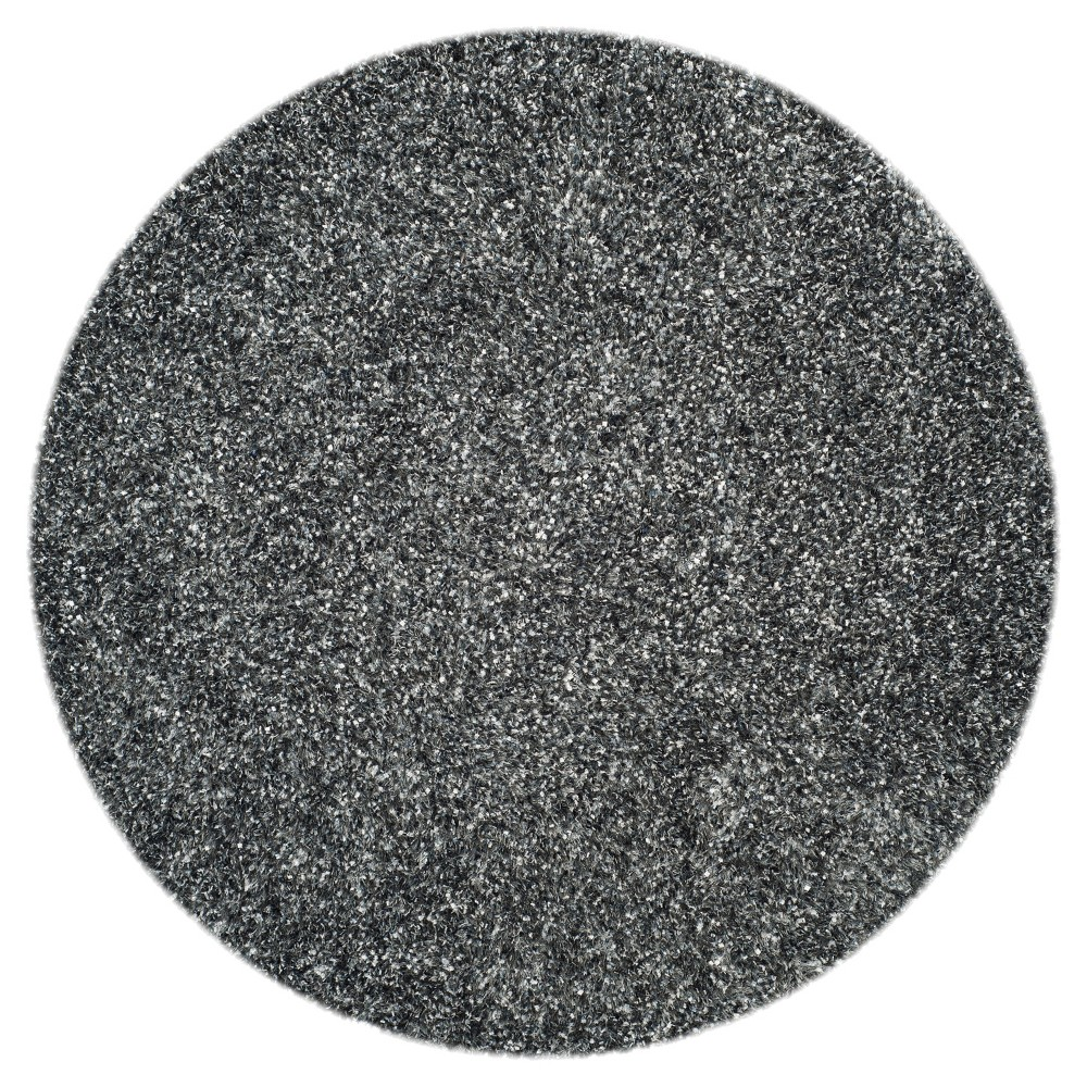 Charcoal (Grey) Solid Tufted Round Area Rug - (5' Round) - Safavieh