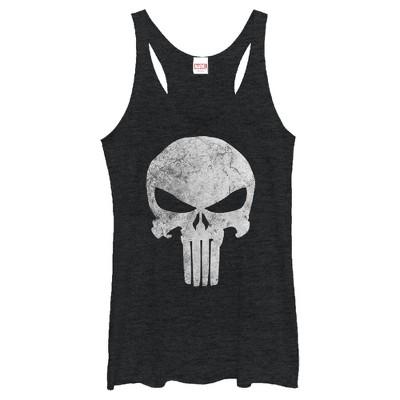 Women's Marvel Punisher Retro Skull Symbol Racerback Tank Top