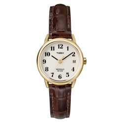 Women's Timex Easy Reader® Watch with Leather Strap - Gold/Brown T20071JT