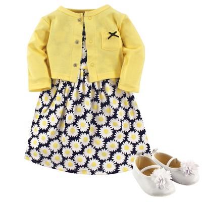 Hudson Baby Infant Girl Cotton Dress, Cardigan and Shoe 3pc Set, Daisy