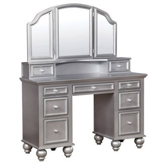 Branson Transitional Vanity Table Set Silver - ioHOMES