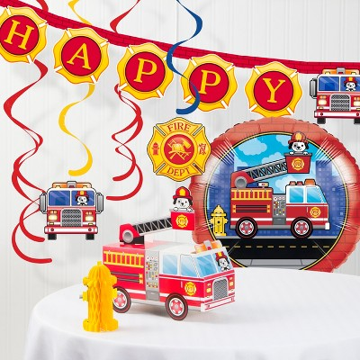 Fire Truck Decorations Party Kit