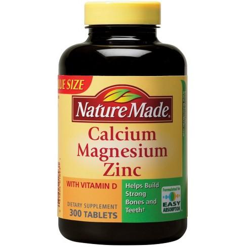 Nature Made Calcium Magnesium Zinc Dietary Supplement Tablets 300ct