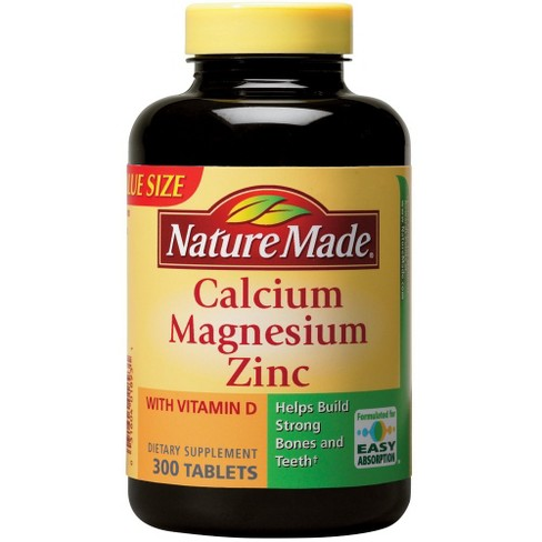 Nature Made Calcium Magnesium Zinc Dietary Supplement Tablets - 300ct - image 1 of 2