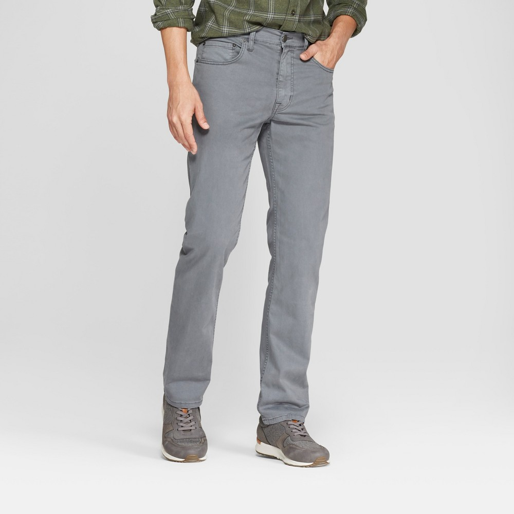 Men's Slim Straight Fit Twill Pants - Goodfellow & Co Dark Gray 33x30