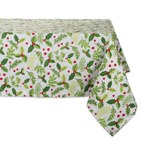 """100/% Cotton Red Green /& White Jacquard 60/""""x60/"""" Tablecloth Merry Christmas"""