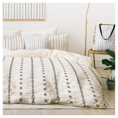 Gray Holli Zollinger French Tribal Stripe Duvet Cover Set (Queen)- Deny Design