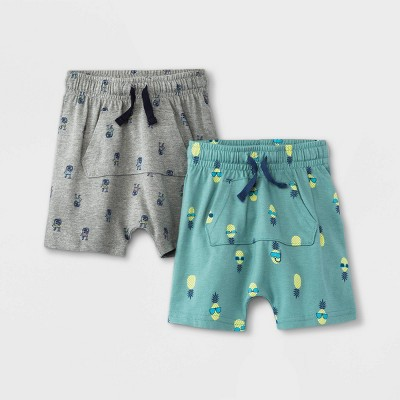 Toddler Boys' 2pk Jersey Knit Pull-On Shorts - Cat & Jack™ Gray/Green