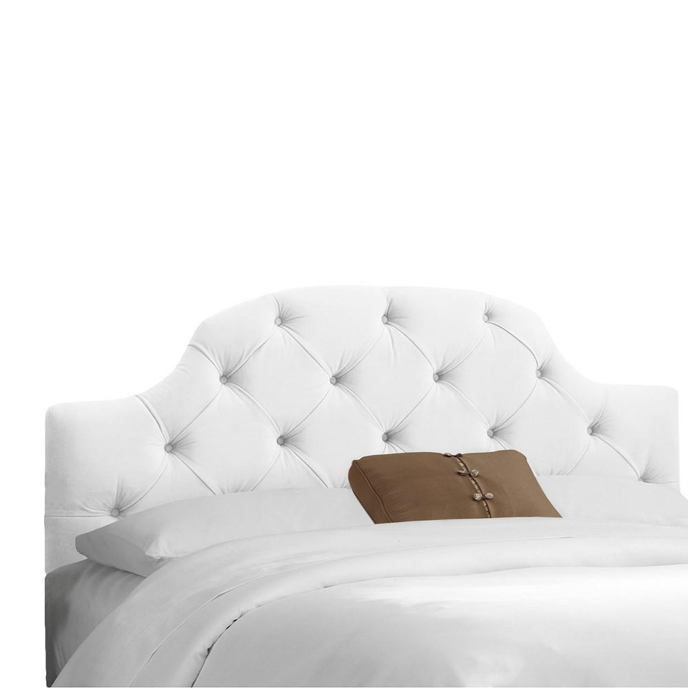 Twin Upholstered Curved Tufted Headboard Velvet White - Skyline Furniture