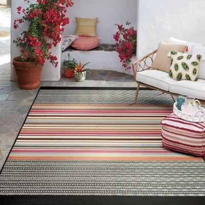 7' x 10' Outdoor Rug Multi Stripe Global Pink - Opalhouse™