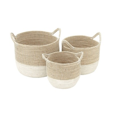 Olivia & May Set of 3 Large Round Dip Dyed Seagrass Baskets with Handles White/Natural