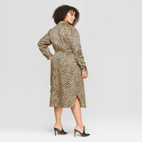 8143b01bc4ef7 Women s Plus Size Leopard Print Self Tie Midi Shirtdress - Who What Wear™  Yellow 2X   Target