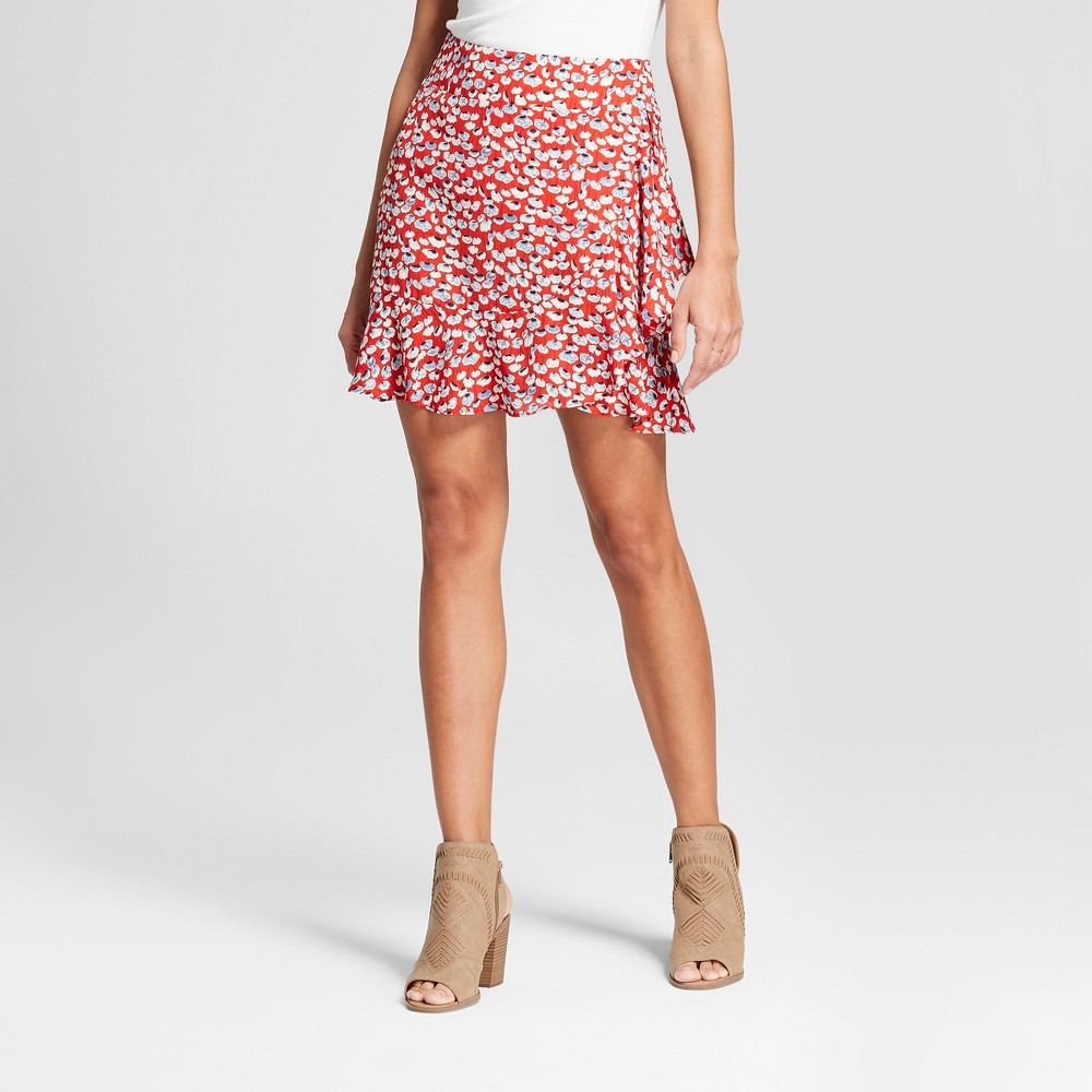 Women's Floral Print Asymmetrical Ruffle Mini Skirt - Eclair Red XL