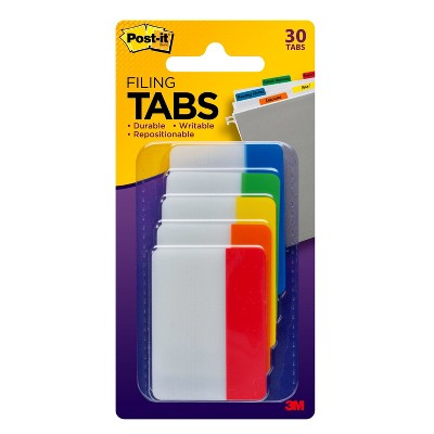 """Post-it 30ct 2"""" Filing Tabs - 5 Assorted Colors"""