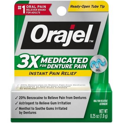 Orajel 3X Medicated For Denture Pain Gel - 0.25oz