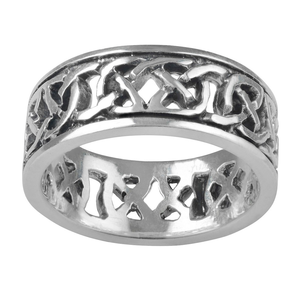 Women's Journee Collection Celtic Knot Band in Sterling Silver - Silver, 7 (8 mm)