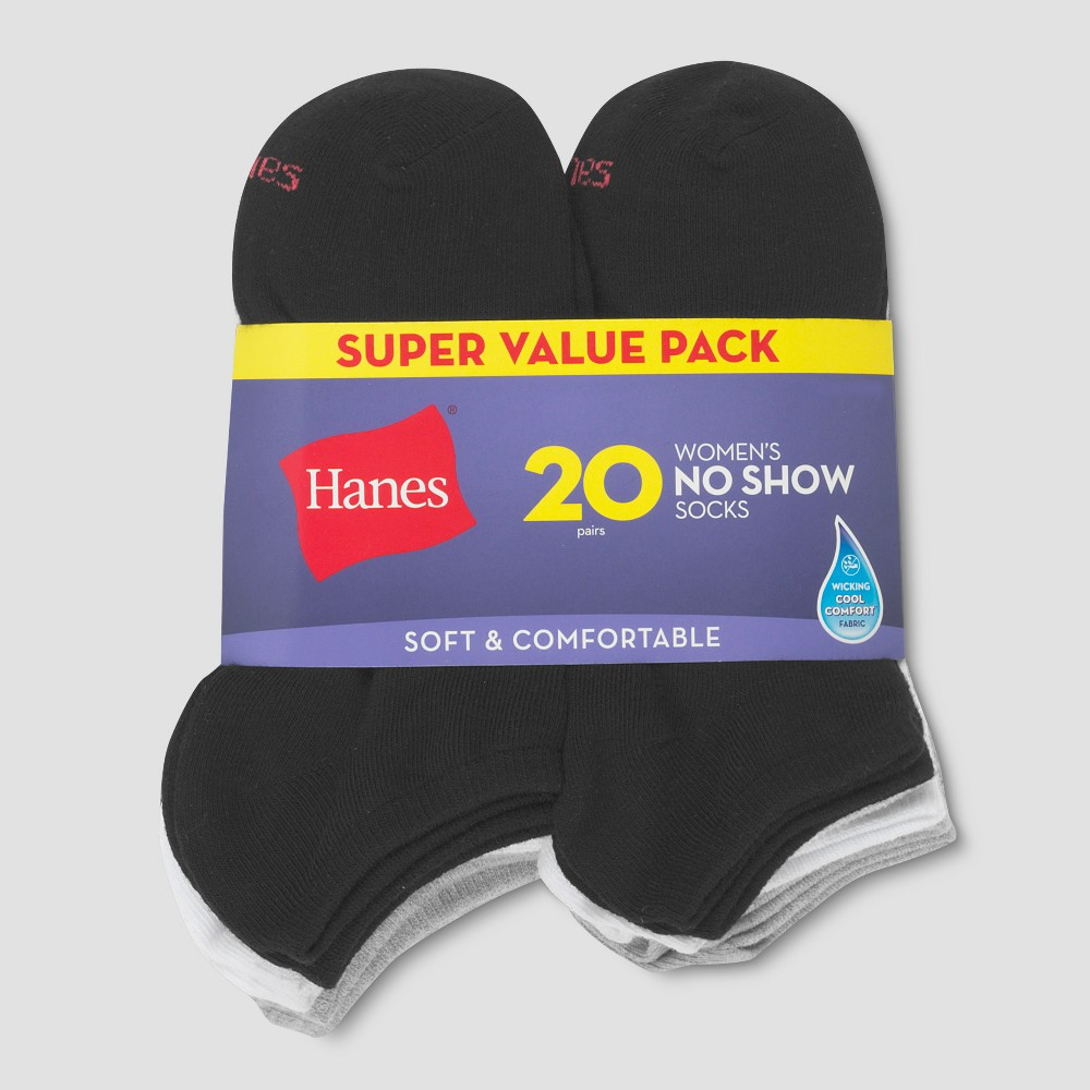 Hanes Women's 20pk Red Label Lightweight No Show Socks - Colors May Vary 5-9, Black/White/Gray