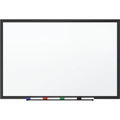 Staples Standard Melamine Whiteboard Black Aluminum Frame 1.5'W x 2'H 1781981