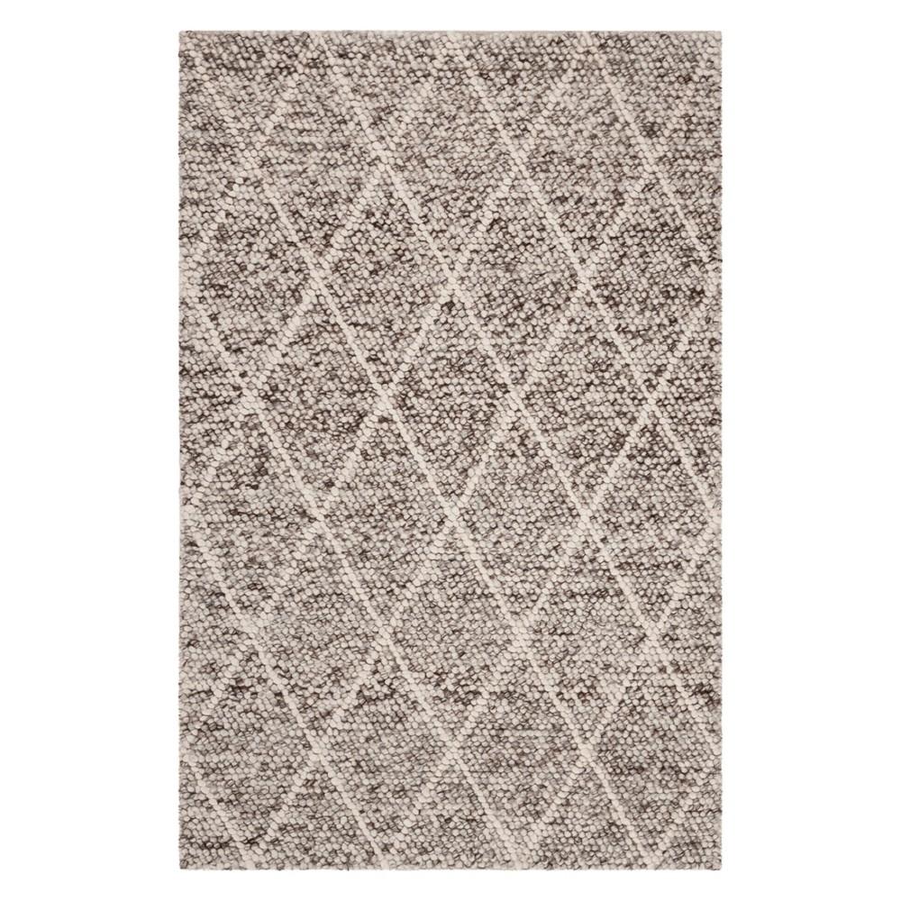 5'X8' Diamond Woven Area Rug Ivory/Stone (Ivory/Grey) - Safavieh