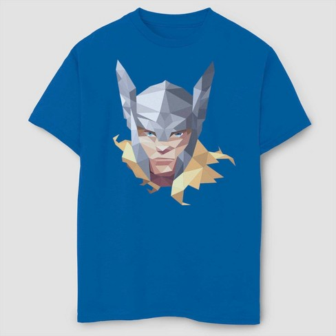 Boys' Marvel Geo Thor Short Sleeve T-Shirt- Blue - image 1 of 1