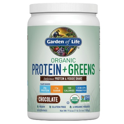 Garden of Life Organic Vegan Protein + Greens Shake Mix - Chocolate - 19.4oz