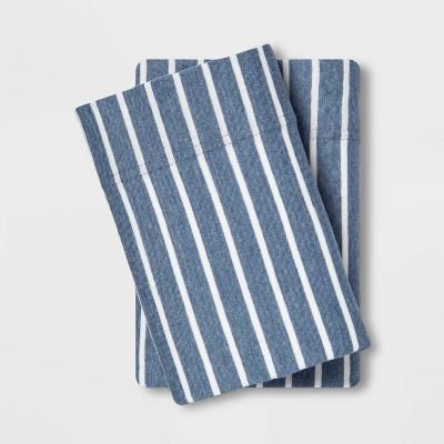 Standard Printed Jersey Pillowcase Set Blue Stripe - Room Essentials™