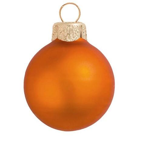 "Northlight 28ct Matte Glass Ball Christmas Ornament Set 2"" - Pumpkin Orange - image 1 of 1"