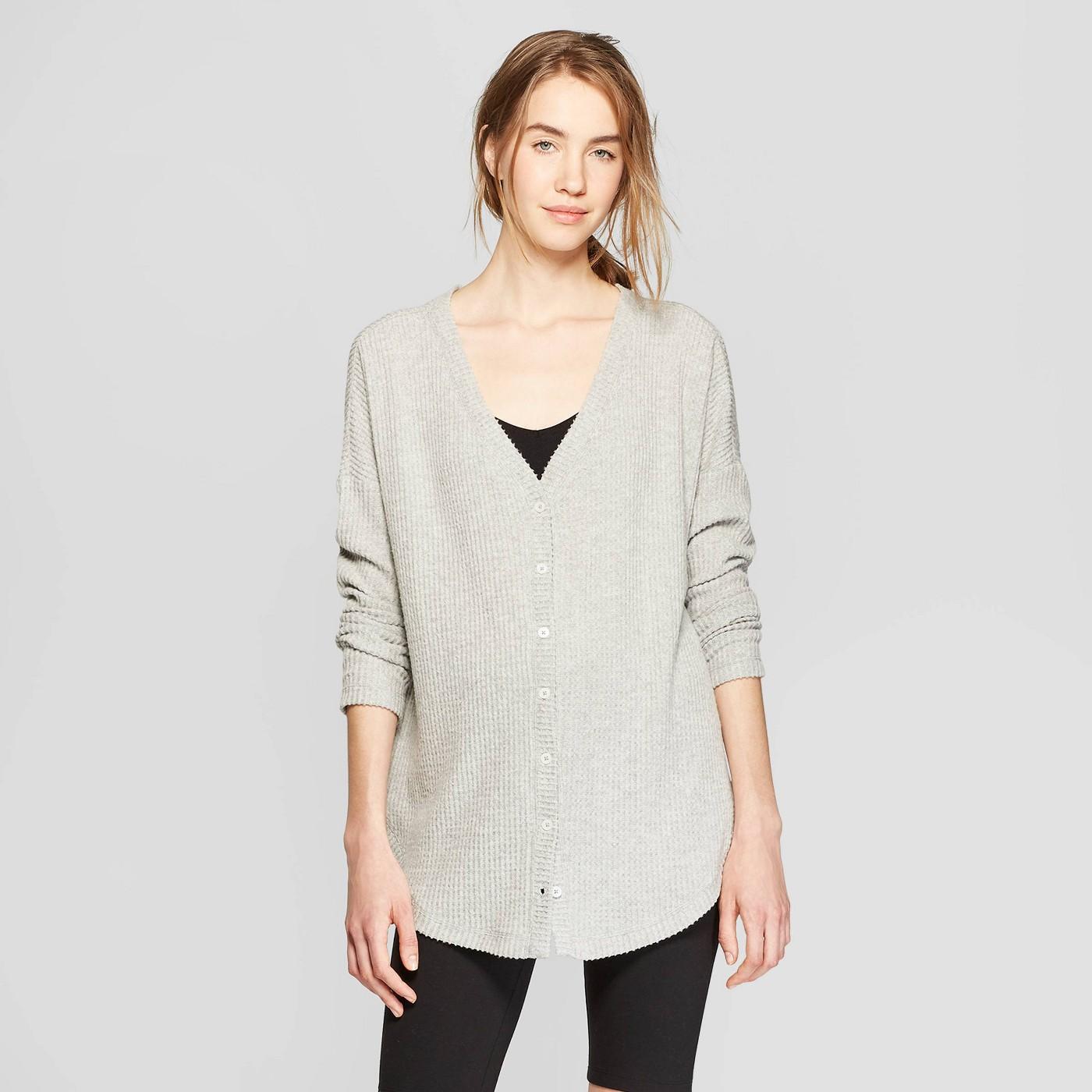 Women's Long Sleeve Waffle Button-Up Lounge Sweatshirt - Colsie™ Heather Gray - image 2 of 3