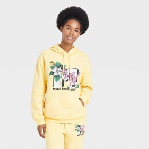 Women's MTV Floral Print Logo Hooded Graphic Sweatshirt - Yellow - image 1 of 2