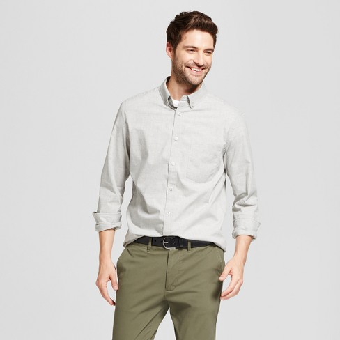 Men's Long Sleeve Standard Fit Solid Northrop Poplin Button-Down Shirt - Goodfellow & Co™ - image 1 of 3