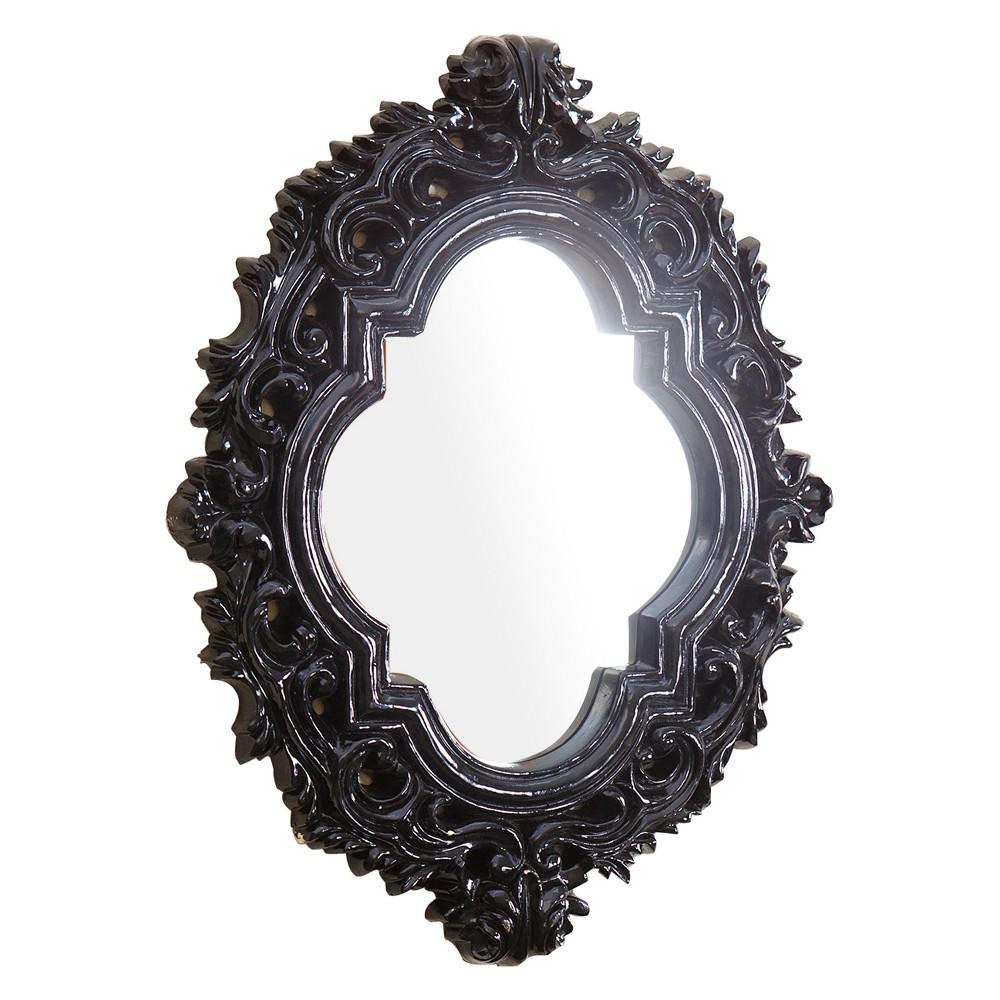 "Image of Abbyson Living 12""x12"" Corina Black Resin Wall Mirror Black"