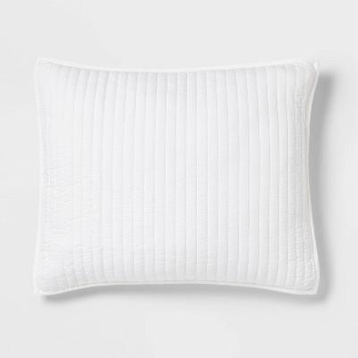 Standard Washed Cotton Sateen Quilt Sham White - Threshold™